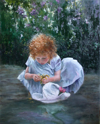 Posies and Puddles - Oil Painting by C. Greig Manning